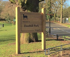 Oak welcome signage for park