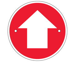 Arrow waymarking disc: red