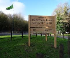 Wooden entrance slat sign for country park