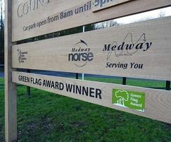 Green Flag Park timber sign