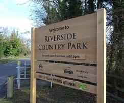Wooden park entrance sign