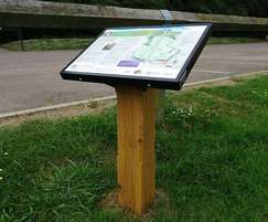 Interpretation lectern sign on timber post