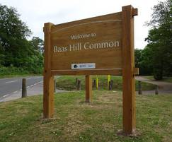 Rustic oak entrance sign for Baas Hill Common