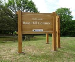 Bespoke oak entrance sign or Baas Hill Common