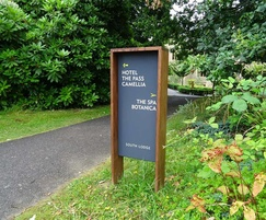External directional signage for hotel
