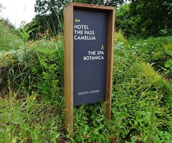 Directional hotel sign