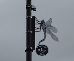 Lamp post laser-cut dragonfly art sculpture
