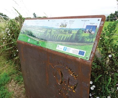 Panoramic corten steel interpretation lectern