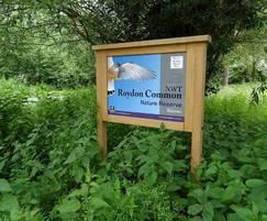 Oak welcome sign Norfolk Wildlife Trust