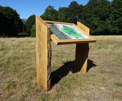 Wooden lectern interpretation panel