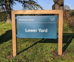 Mixed materials badging sign - Elvetham Estate