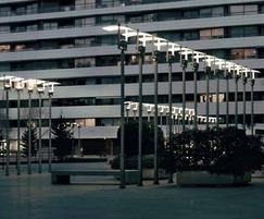 Uses reflected light to illuminate public spaces
