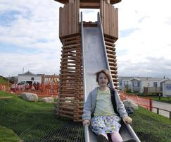 Daisy enjoying her descent from the Octagonal Tower