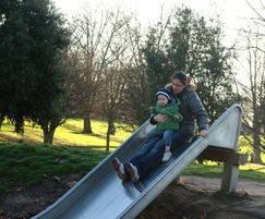 Stainless steel slide with slide support for embankment