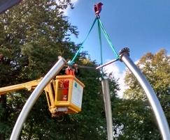 UFO climbing sculpture being installed - Heaton Park
