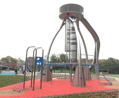9.5m-high UFO play structure with Air Lock Access Tower