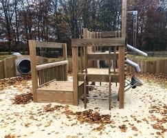 Bespoke multi-level sand play climbing unit