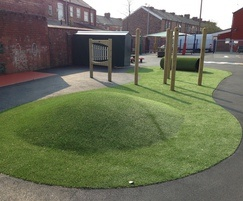 Feature play mound and rest area with artificial grass