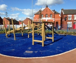 Challenging climbing frames and tower play unit