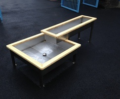 Custom-made stainless steel water play trays