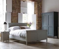 Nathalie bed, bedside table, and 2-door wardrobe
