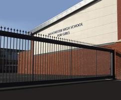 Cantilever gates with ornamental finials for school