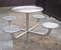 Centerline CL091 circular table with cantilevered stool