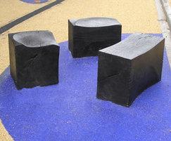Charred FSC green oak seating blocks
