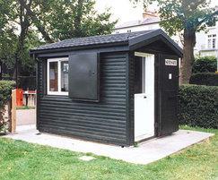 Apex modular park kiosk with timber cladding