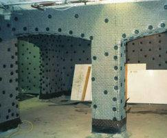 Delta membrane being installed in a vault