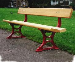 PA7 Palace painted red cast iron and timber seat