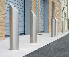 Zenith® sloped satin stainless steel bollards