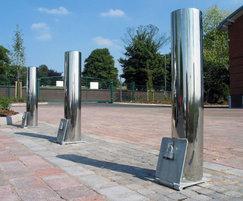 Bright stainless steel bollard, UCE Birmingham