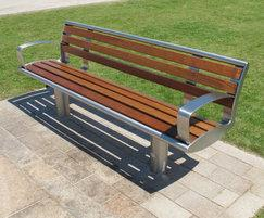 Zenith® stainless steel seat and iroko timber slats