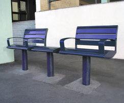 Zenith® powder coated blue single seat & bench