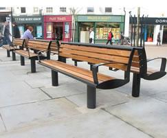 Zenith® seats, powder coated black & iroko timber slats