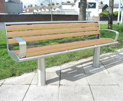 Zenith® stainless steel seat  with recycled slats