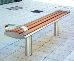 Zenith® stainless steel and timber bench with arms