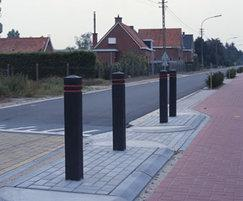Square bollard on the street