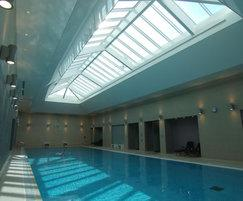 Inscape stretch ceiling system for indoor pool