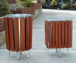 Neptune timber-clad litter bins