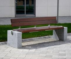 s83 cut granite, 316 stainless steel and timber seat