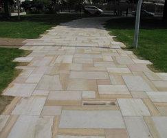 Sawn sandstone paving