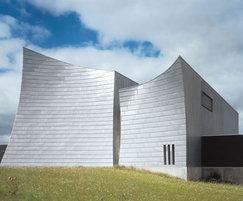 Zinc angled standing seam facade