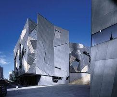Rheinzink angled standing seam zinc facade system