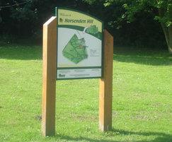 Vertically mounted timber interpretation signs
