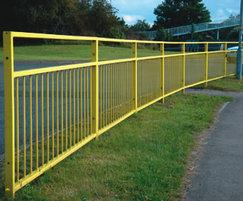Standard galvanised steel guardrail with vision panels